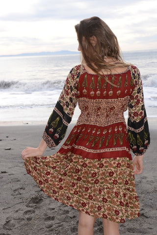 Long Sleeve India Print Pheasant Dress
