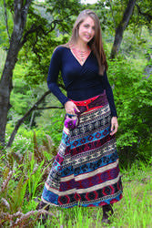 100% Wool Maxi Skirt With Snap Closurse and Pouch
