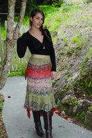 Batik Below Knee Skirt with Angle Cut Hem
