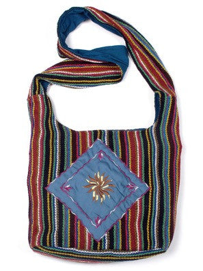 Striped Diamond Embroidered Bucket Bag