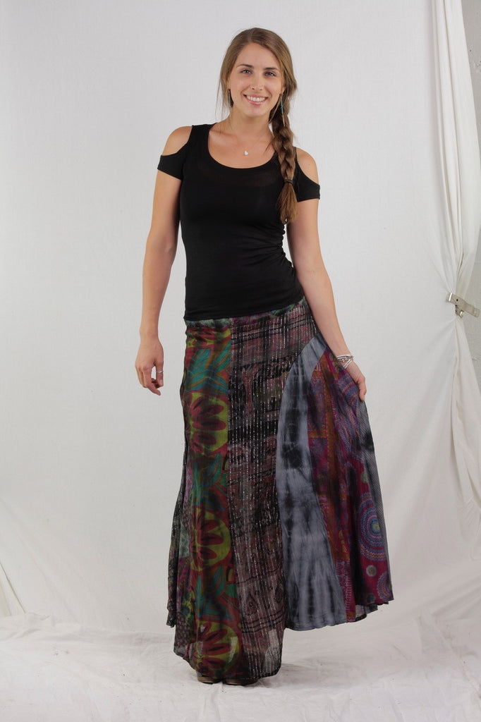 Long Jaipuri Patchwork Skirt