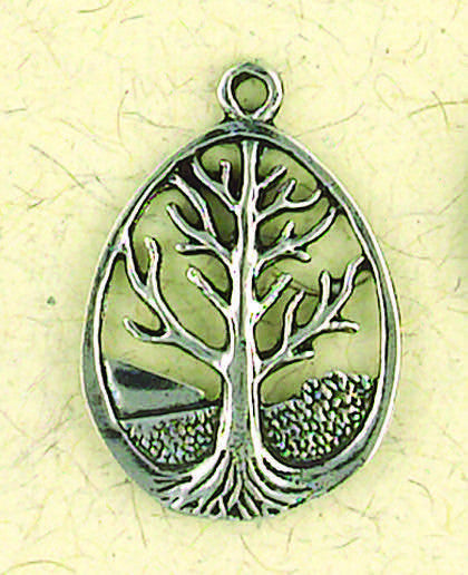 "Tree of Life Pewter Oval Pendent on a 33"" Chord"
