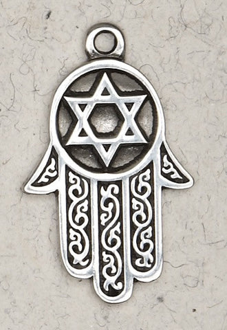 The Hamsa-Healing Hand In A Pewter Pendant Necklace