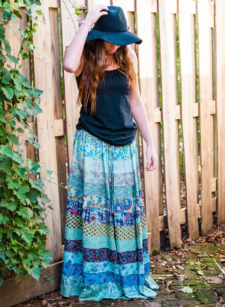 Tiered Panel Patch Skirt