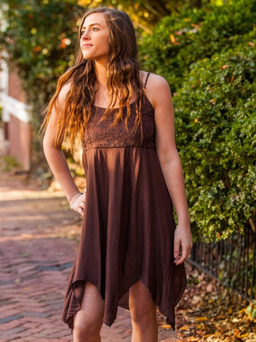 Summer Hippy Dress With Asymmetrical Hem and Embroidery