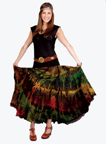 Long Tiered Cotton Mudmee Tie Dye Skirt