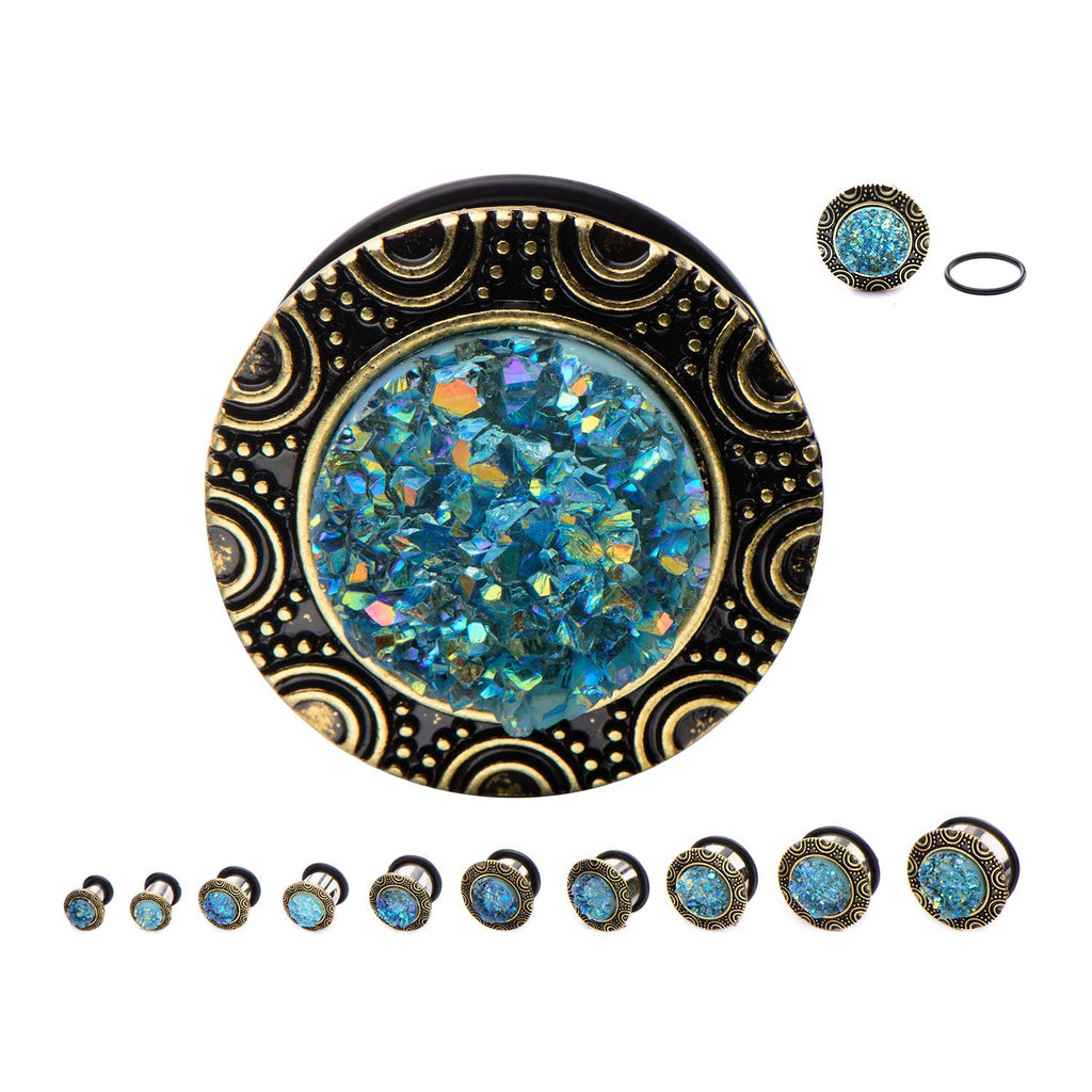 PLUG-Single Flared Steel Plugs wit Aqua Druzy Inlay.