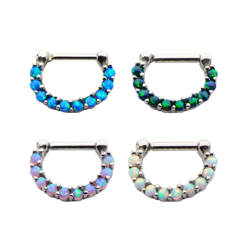 Septum Clicker with Opal Cabochons