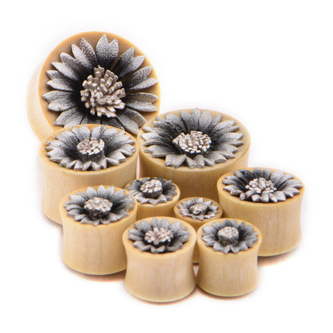 Plug-Double Flared Crocodile Wood Plugs with Silver Leather Flower