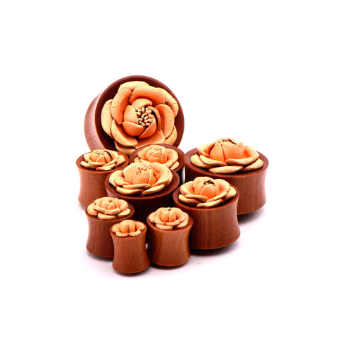 Double Flared Red Saba Wood Plugs with Peach Leather Flower