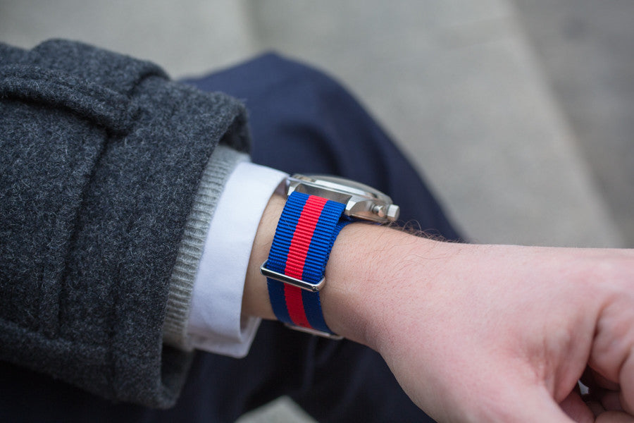Red and Blue Nylon Nato Strap with Stainless steel buckle