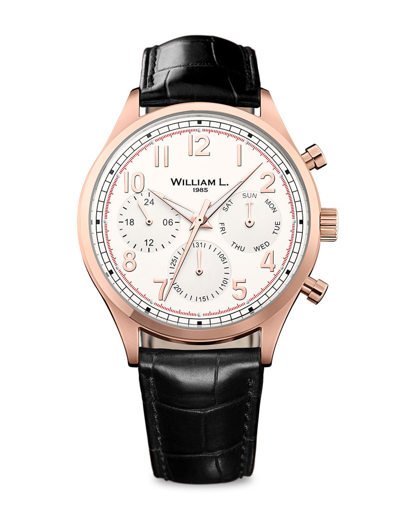 IP Rose Gold Vintage Style Calendar - Cream Dial with Black Leather Strap