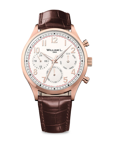 IP Rose Gold Vintage Style Calendar - Cream Dial with Brown Leather Strap
