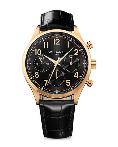 IP Yellow Gold Vintage Style Calendar - Black Dial with Black Leather Strap