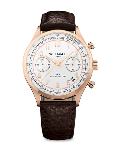 Vintage Chronograph rose gold color with brown leather strap