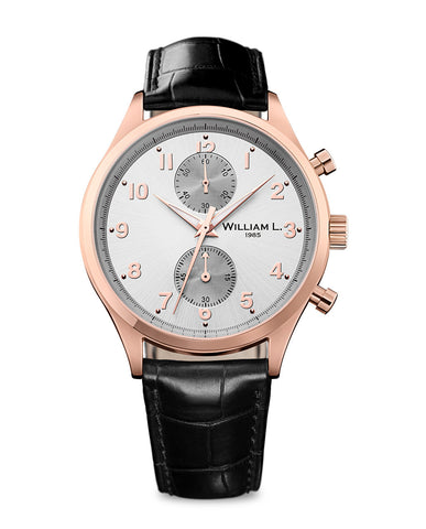 Rose Gold Small Chronograph - Silver Dial with black leather strap