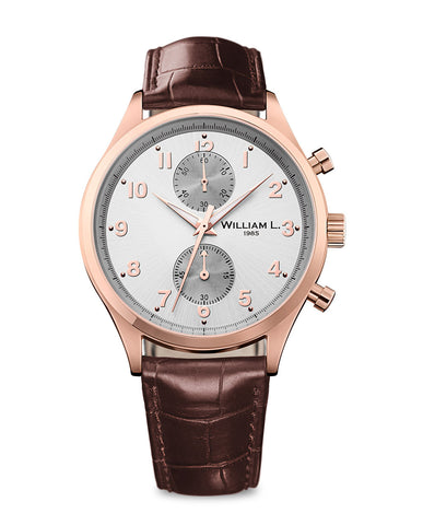 Rose Gold Small Chronograph - Silver Dial with brown leather strap