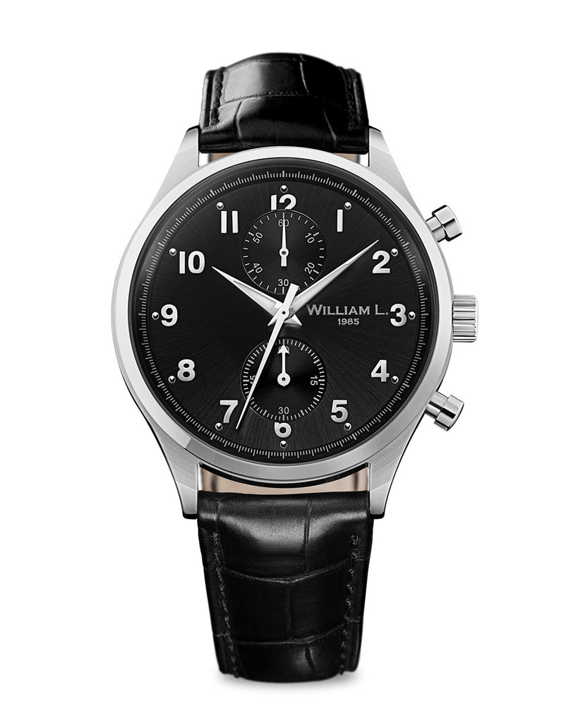 Small Chronograph - Black Dial with Black Leather Strap