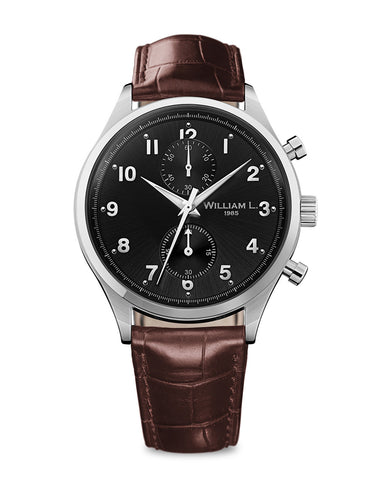 Small Chronograph - Black Dial with Brown Leather Strap