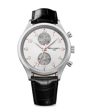 Bicolore Small Chronograph - Silver Dial with Black Leather Strap