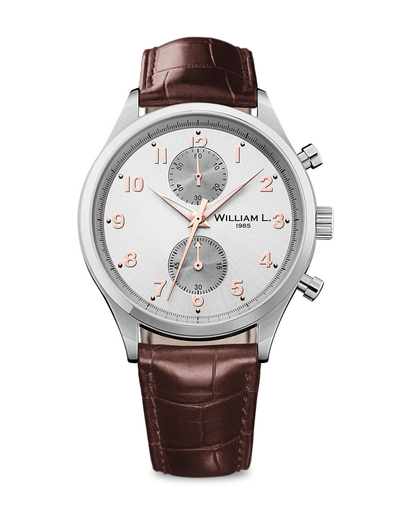 Bicolore Small Chronograph - Silver Dial with Brown Leather Strap