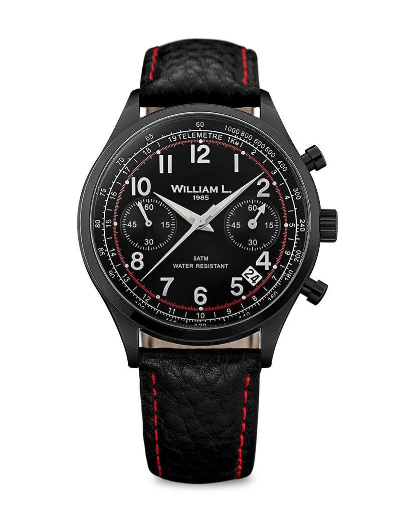 Vintage Chronograph IP black case with black 'buffalo' style strap and red stitching