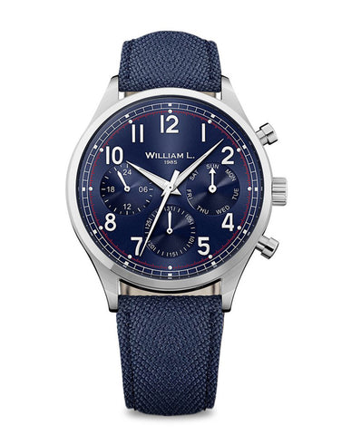Vintage Style Calendar - Blue Dial with Blue Canvas Strap