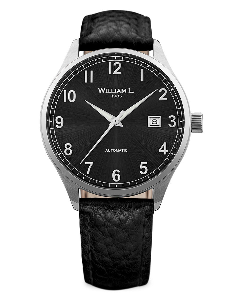 Automatic Classy Watch - Black Dial and Black Leather Strap