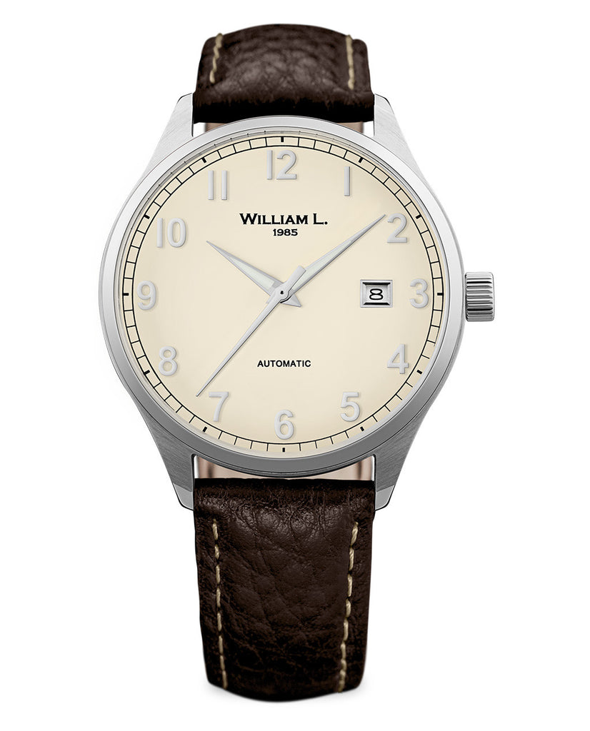 Automatic Classy Watch - Cream Dial and Brown Leather Strap