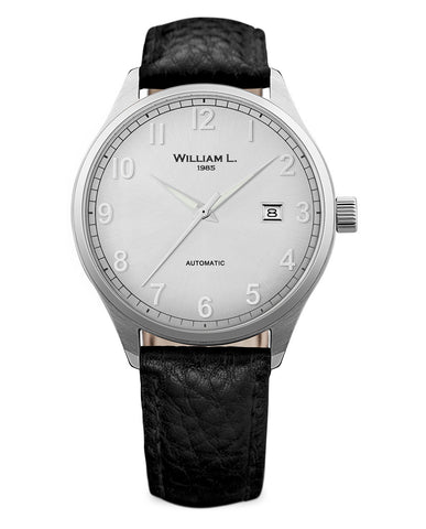 Automatic Classy Watch - Silver Dial and Black Leather Strap
