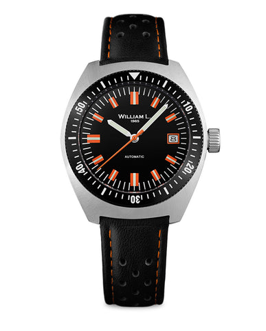 Automatic Vintage Diver 70's Style - Black dial and black Leather Strap
