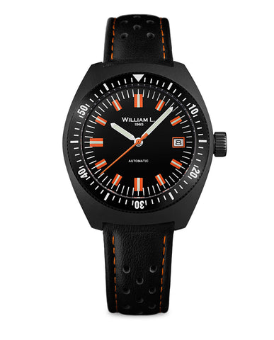 Automatic Vintage Diver 70's Style - IP Black and black Leather Strap