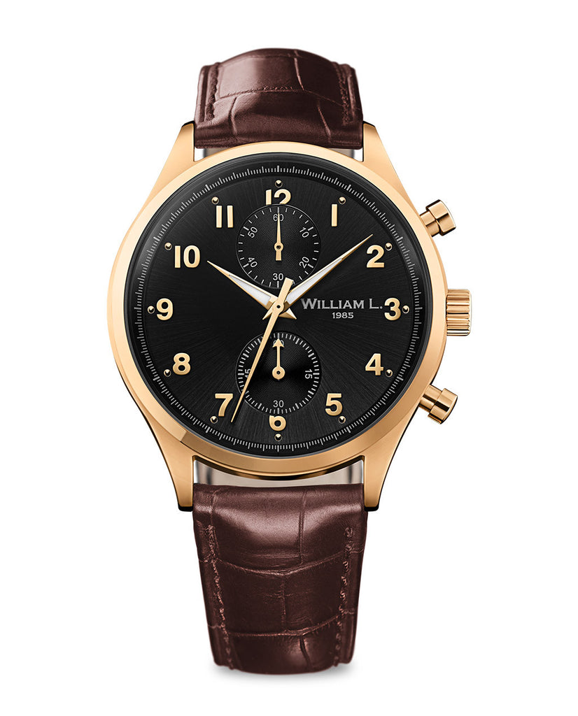 Yellow Gold Small Chronograph - Black Dial with brown leather strap