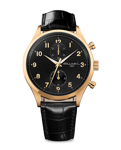 Yellow Gold Small Chronograph - Black Dial with leather strap