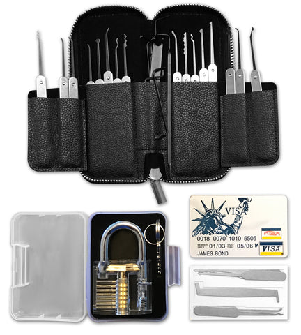 Mastering the Lock lock pick set with practice lock and credit card lock pick set