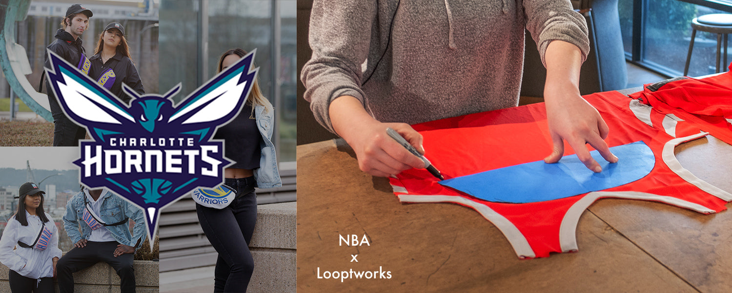 Show your team spirit with upcycled products made from Charlotte Hornets jerseys