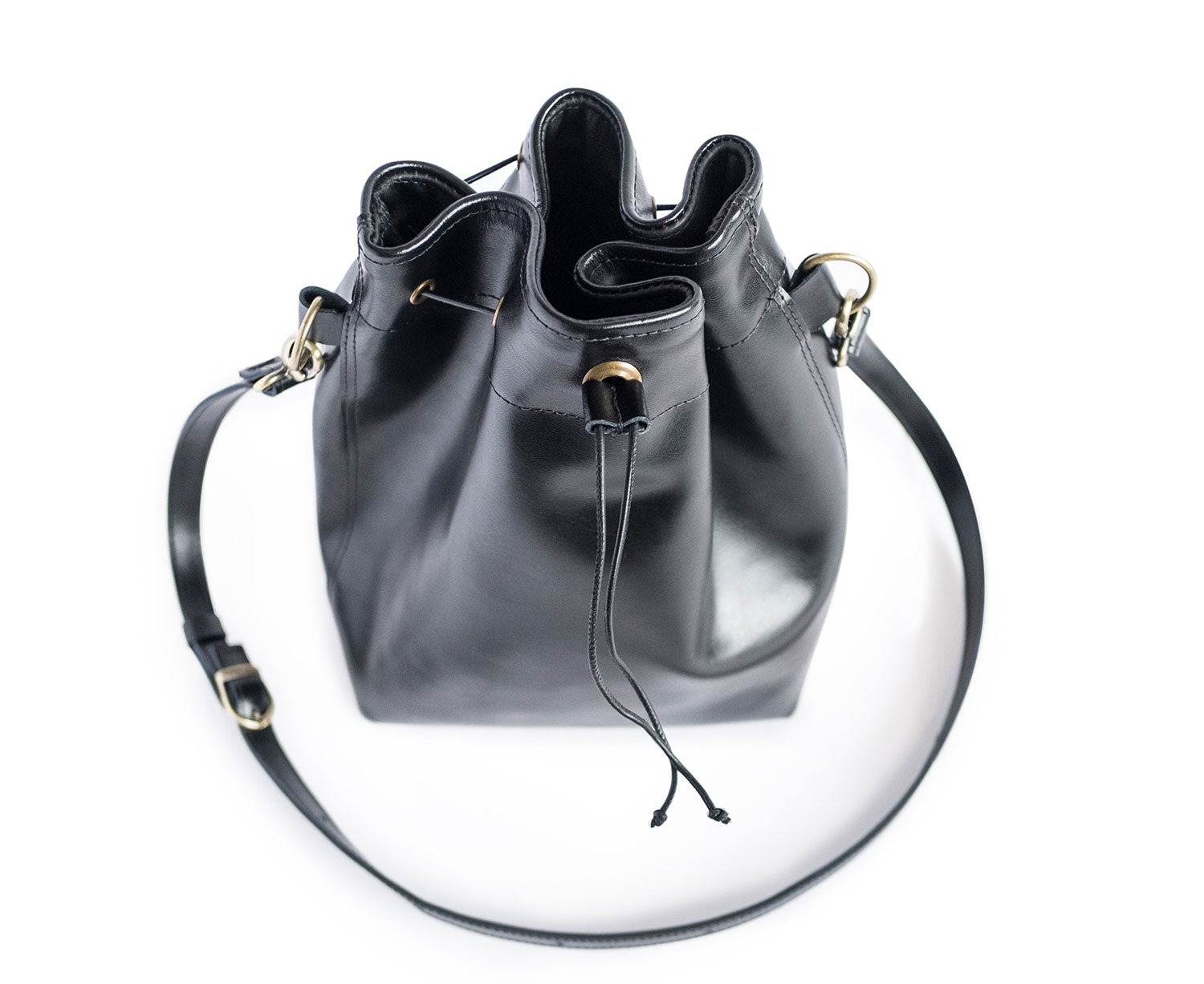 upcycled leather bucket bag