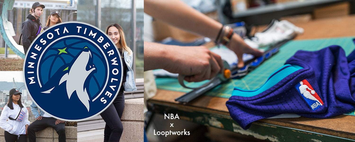 Collection of upcycled products made from Minnesota Timberwolves NBA jerseys