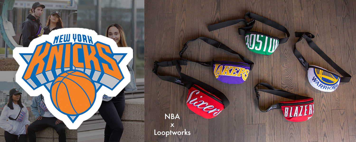 Collection of upcycled products made from retired New York Knicks NBA jerseys