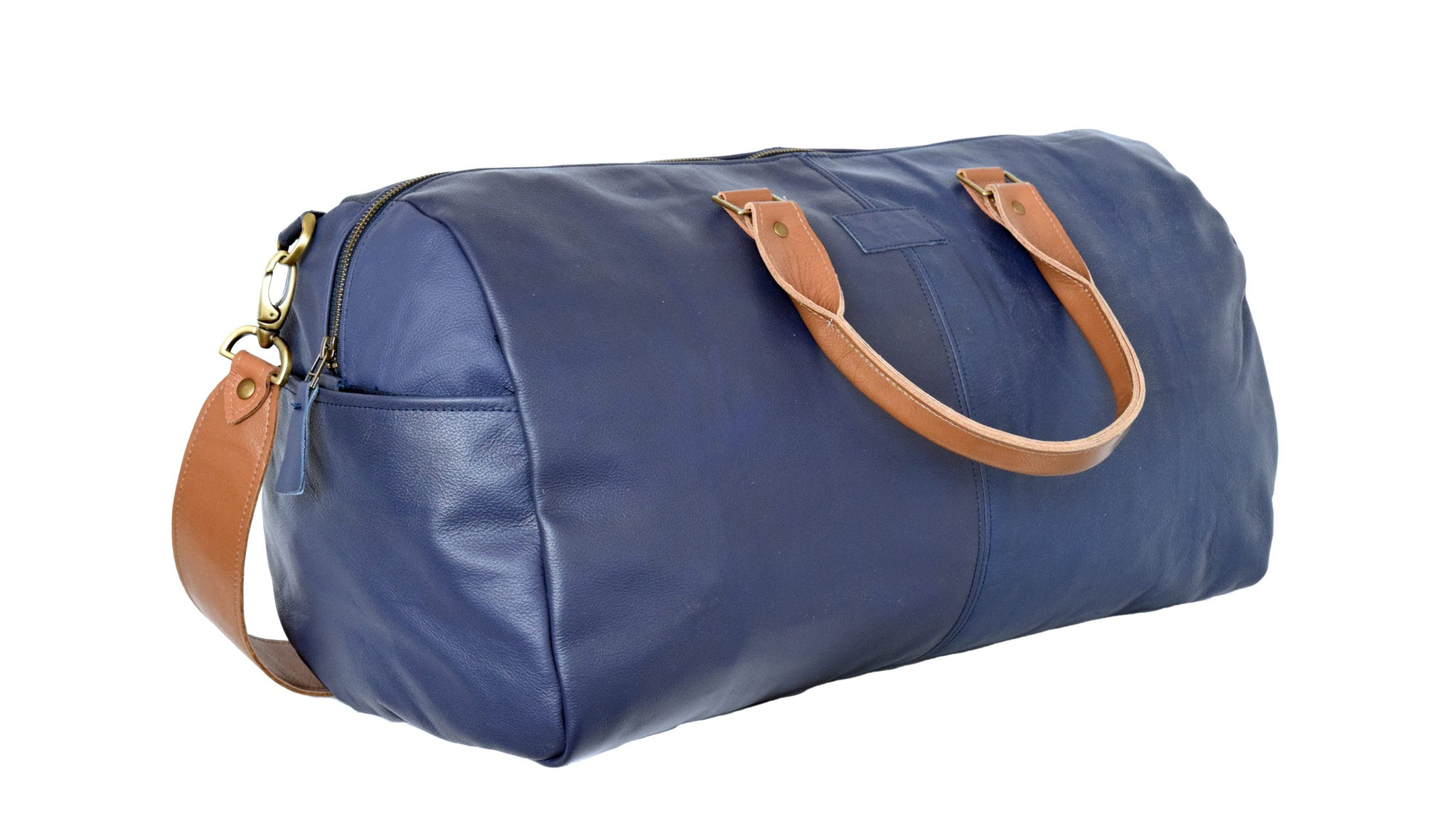 Southwest Airlines blue leather duffle bag upcycled from seat covers