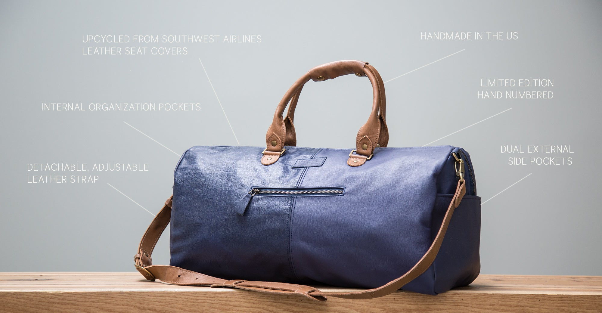in flight weekender upcycled dufflebag