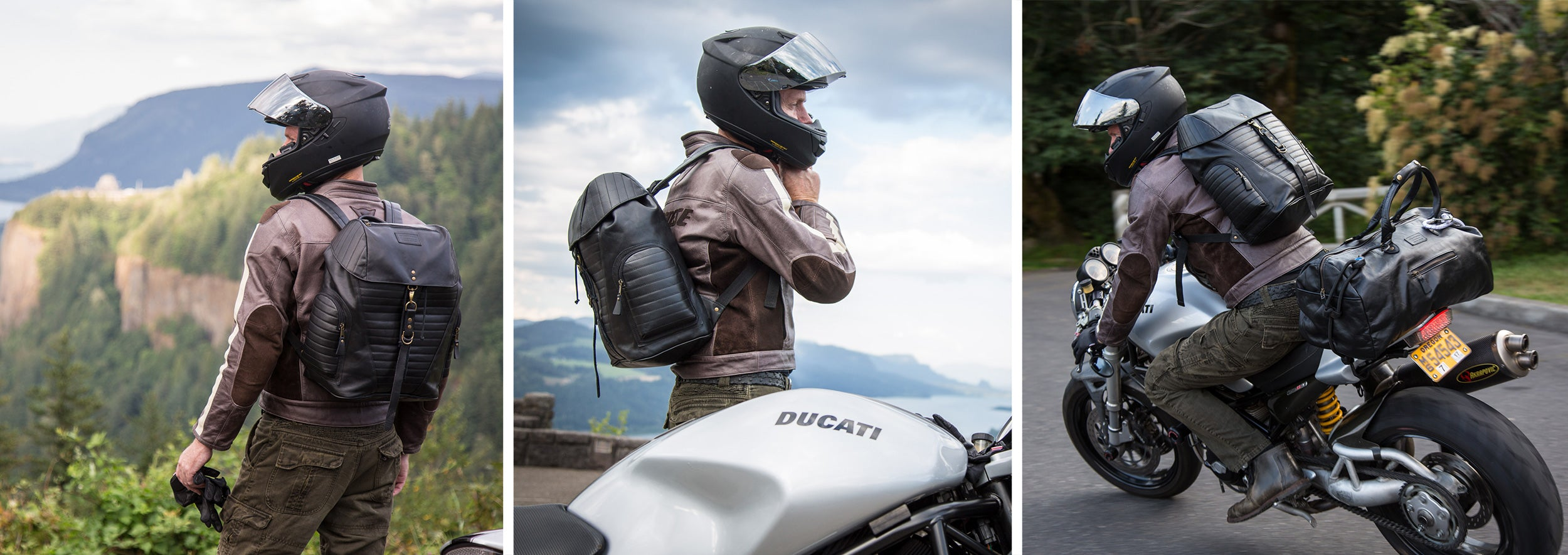 riding with the moto backpack