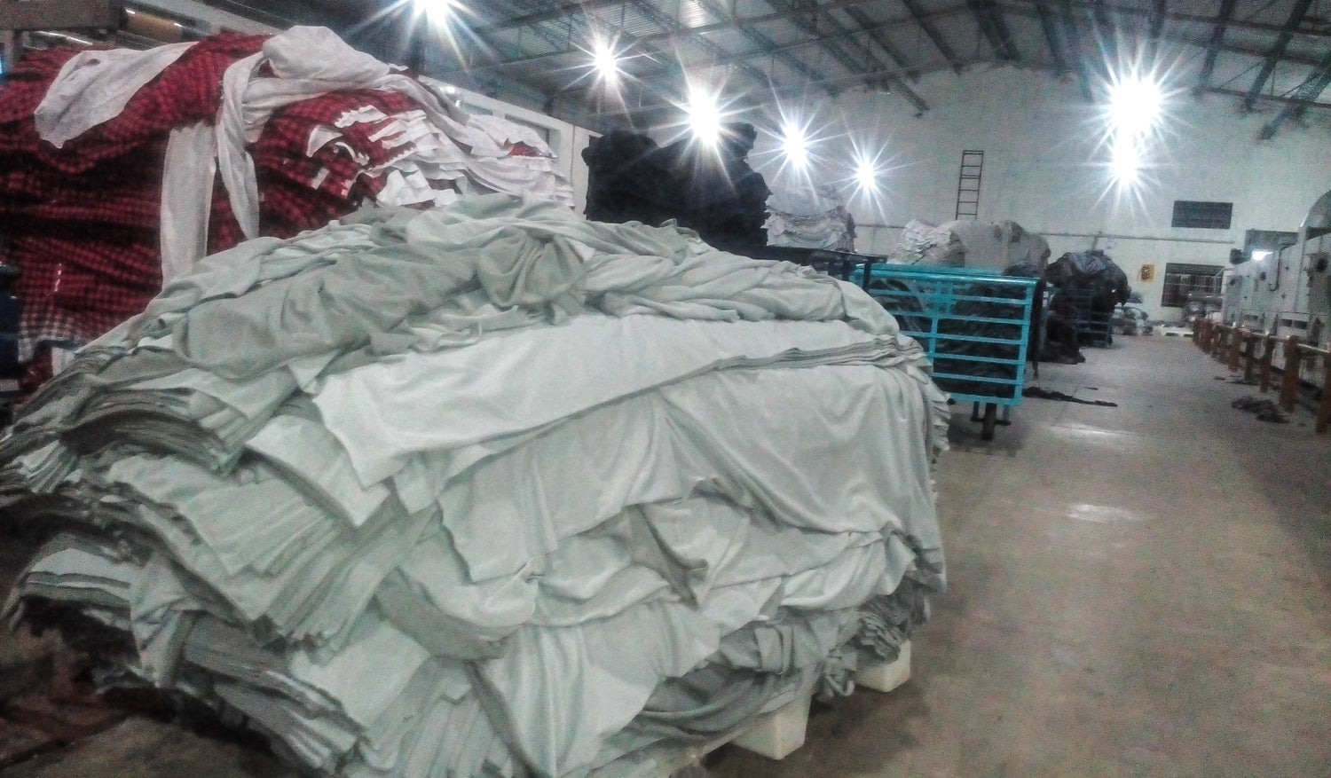 Moving the excess fabrics to the factory