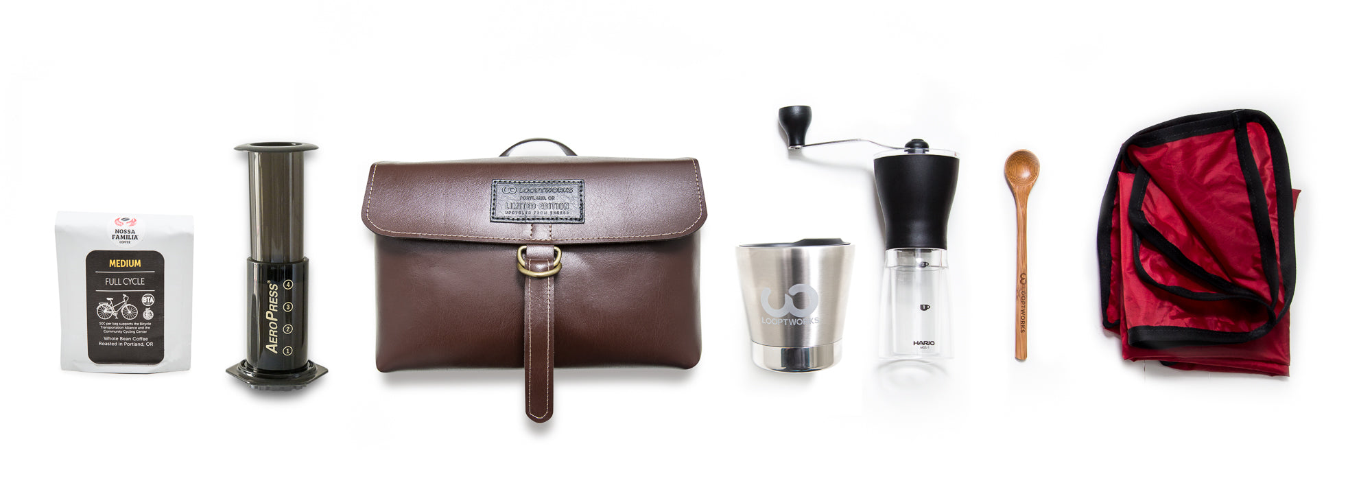 content of the Looptworks Upcycle Coffee Carrier Travel Kit