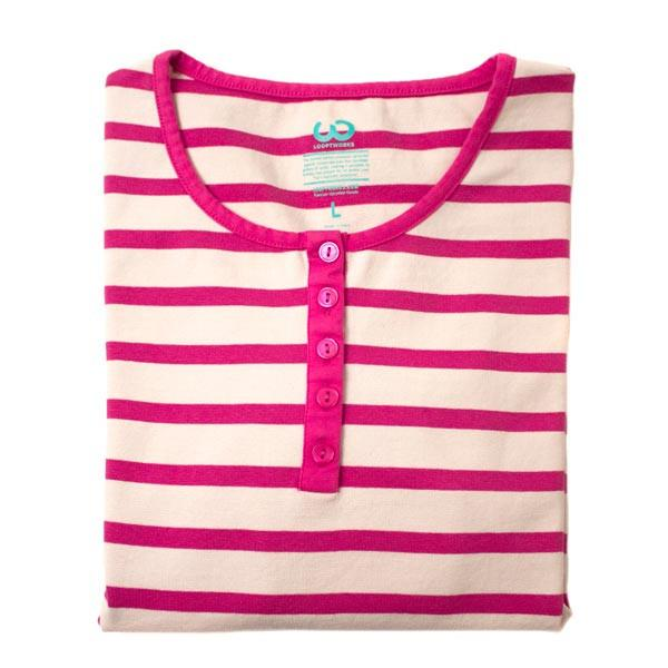 striped women's henley shirt made from upcycled fabric