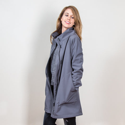 Women's Gray Upcycled Softshell Duster Jacket