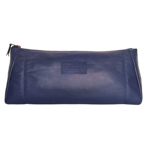 In Flight Toiletry Case is made from the blue and tan headrests of Southwest Airlines leather seat covers.