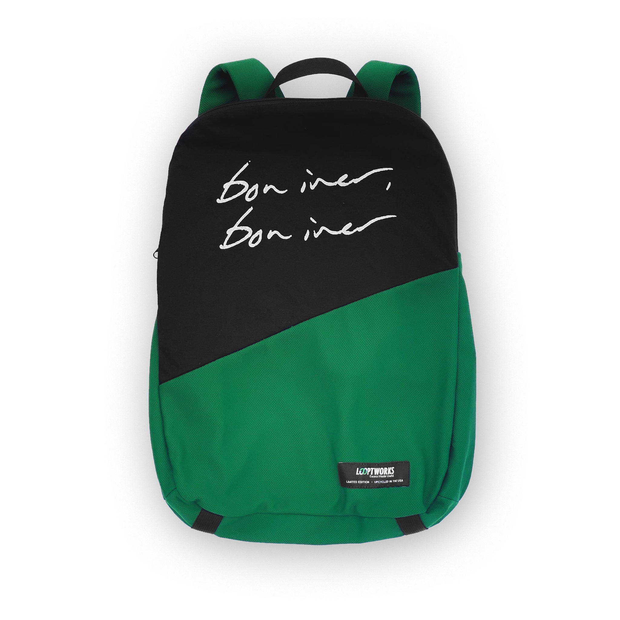 Bon Iver Upcycled T-shirt Packable Backpack Backpacks - Looptworks
