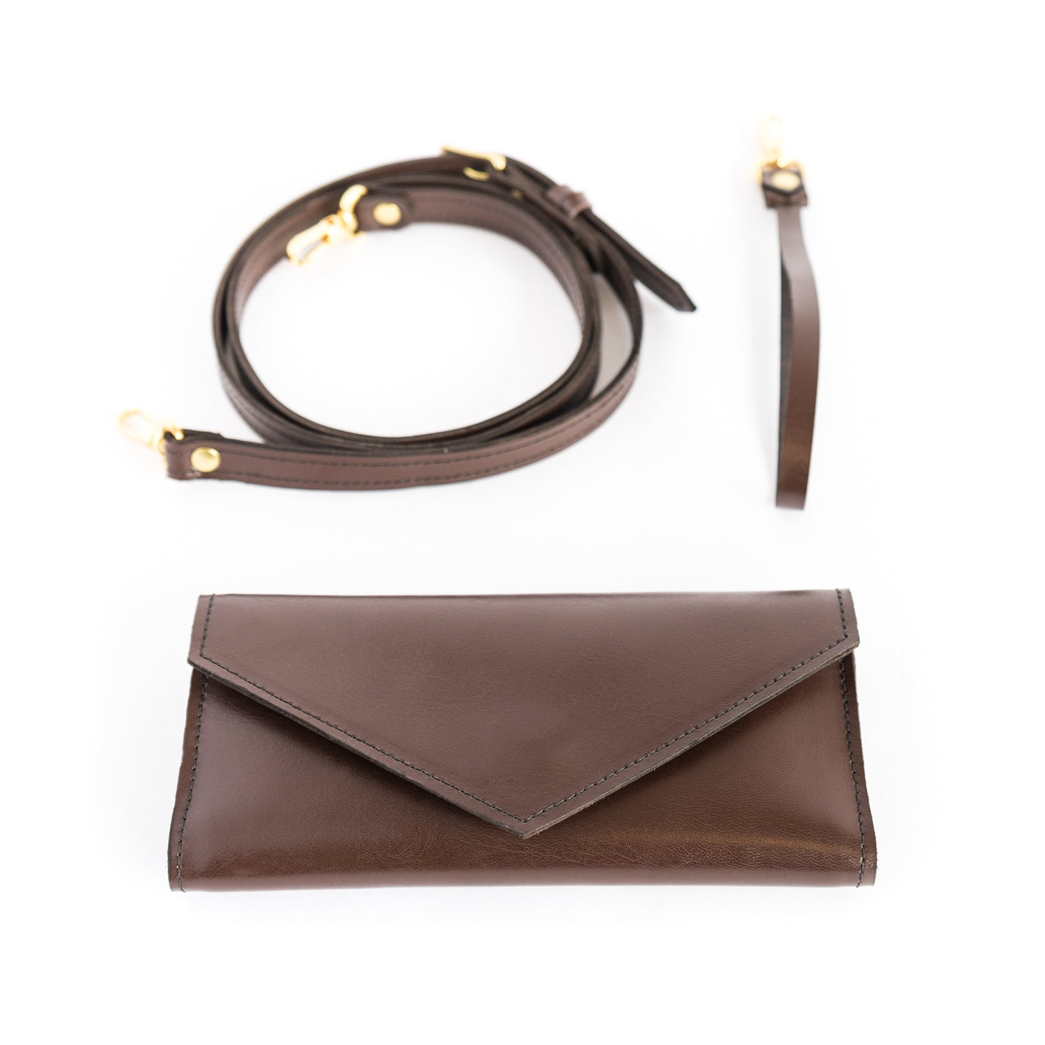 La Vallée Brown Leather Wallet Clutches - Looptworks