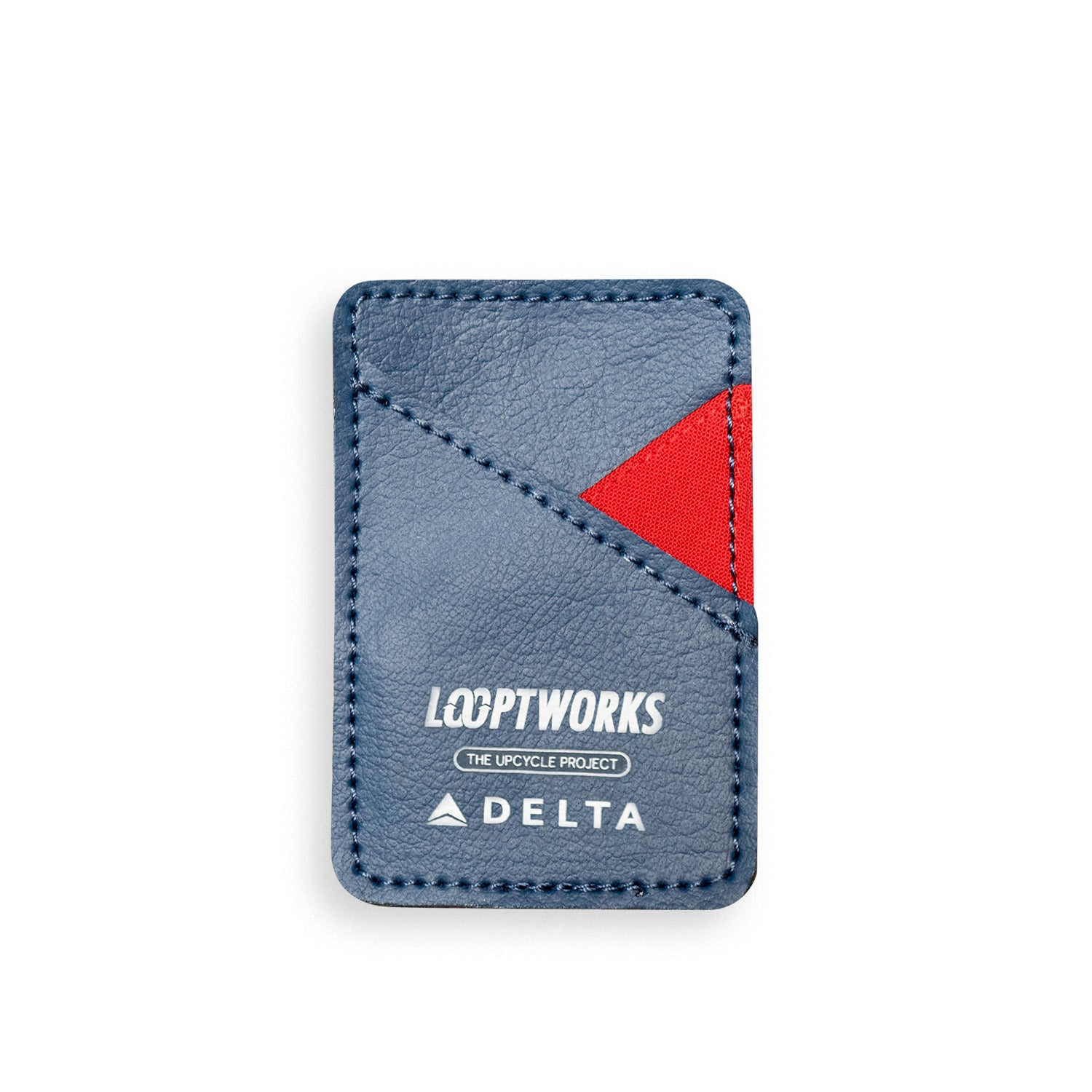 card carrier made from upcycled delta airlines uniforms